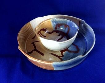 Stoneware chip and dip bowl, serving dish, ceramic chip and dip bowl, pottery chip and dip bowl, chip and dip serving bowl, fruit bowl