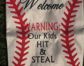 Embroidered Baseball Garden Flag