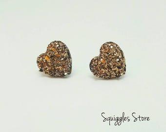 Rose Gold Sparkling Druzy Heart Stud Earrings Hypo-allergenic Titanium Posts
