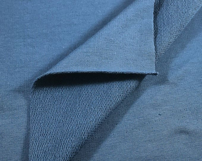 SUPIMA Cotton French Terry Knit Fabric with Spandex (Wholesale Price Available By the Bolt) USA Made Premium Quality - 5471SU DENIM - 1 Yard