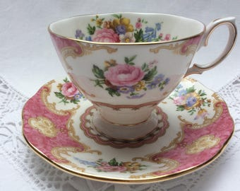 Vintage Royal Albert Teacup and saucer 'Lady Carlyle', Lady Size, English porcelain, Floral tea cup