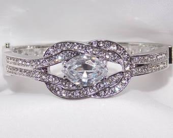 Bridal Wedding Clear Cubic Zircon Silver Bracelet
