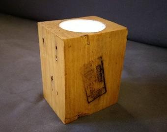 Wooden pallet block large tealight holder