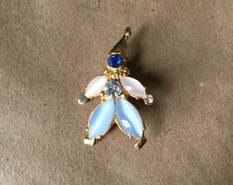 Blue Jewel stone Harliquin Brooch Jester Pin
