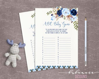 Blue Floral Baby Shower ABC Baby Game Boy Baby Digital Tribal Aztec Shower Trivia Cute Boy Printable Quiz Card Baby Birth Game - CG008