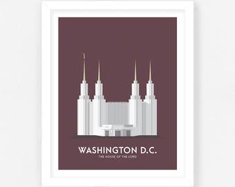 Washington DC LDS Temple Print - Maroon Digital Download    Wedding Gift    Anniversary Gift    Christmas Gift