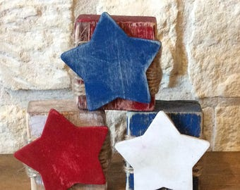 Red White and Blue Blocks with Stars-Fourth of July Decor-Americana Home Decor