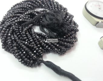13 Inch Indian Black Spinel Faceted Beads Strand 100% Natural Black Spinel Rondelle Beads - Spinel Beads - Micro Faceted Black Spinel Beads