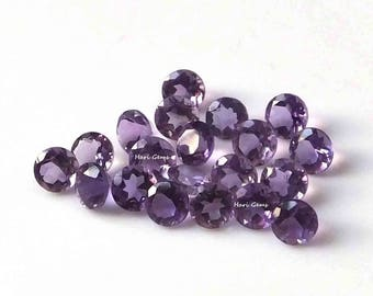10 Pieces 5mm Amethyst Faceted Round Purple Color AAA Quality Loose Gemstone - Natural Amethyst Round Faceted Gemstone Lot Calibrated Size