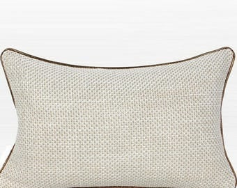 "Luxury White with Gold Woven Fabric Solid Color Pillow 12""X20"""