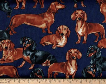 Dachshund Dogs on Navy, timeless Treasures