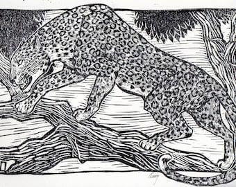 Linocut of a Leopard