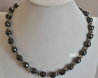 Hematite necklace beads twisted and Tibet Silver Flower beads