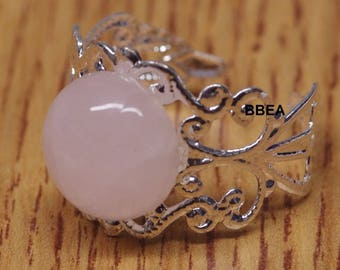 Ring rose quartz, stone of love, 12 mm setting ring adjustable 19mm round stone.