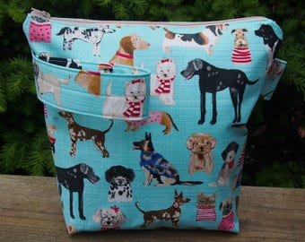 Sweater Dog Zippered Pouch Knitting Project Bag/ Pockets/ Measuring Tape