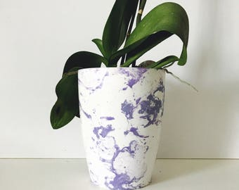 Lilac Marble Plant Pot, 12cm Tall Plastic Planter Hand Marbled