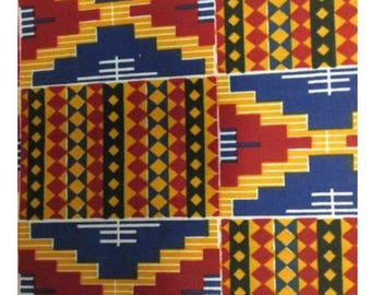 Red and Blue Kente Print