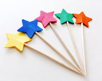 Primary colors star cupcake topper