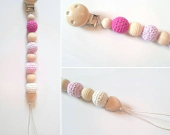 Pacifier beads organic and natural color pink