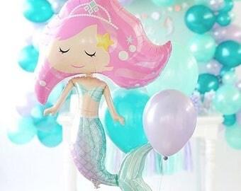 12 x Mermaid Latex Balloons Coloured Set