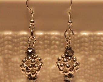 Beautiful glass and silver plated alloy-beaded earrings; dangle & drop, handmade, beadweaving, cute, casual-wear, party-wear