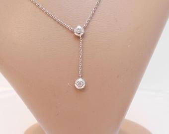 18kt white gold diamond lariat necklace