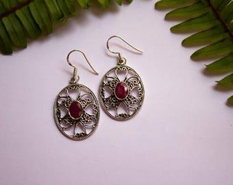 Ruby Earrings, July Birthstone Earrings, Sterling Silver Ruby Earrings, Filigree Dangle Earrings, Ruby Jewelry, Red Stone Earrings, Gift Mom