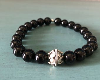 Beautiful 8mm AA Black Onyx Bracelet with Sterling Silver 10mm focal bead.