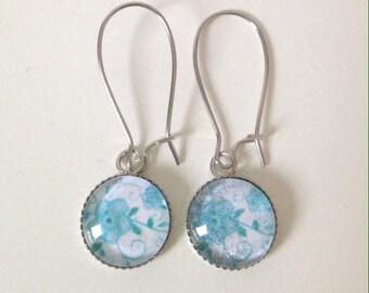 Blue flower cabochon earrings