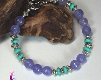 """Brasil"" bracelet in mauve and turquoise agate with silver plated toggle clasp"