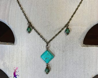 """""""Oaxaca"""" necklace with turquoise and bronze metal chain"""