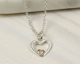 River Heart Pendant, Sterling Silver, Rose Gold, Silver Heart Necklace, Silver Heart Pendant, Heart Jewelry, Silver Jewelry, Mixed Metal