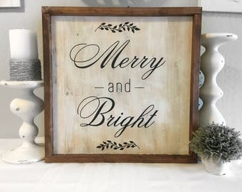 Merry and Bright Sign - Wood Sign - Christmas Sign - Christmas Wall Decor - Christmas Decor - Christmas Signs