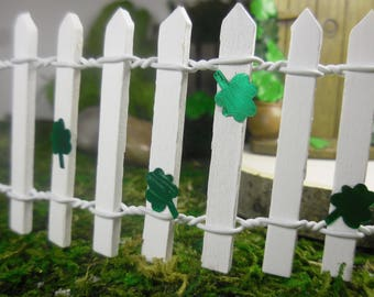 Fairy Gardens Shamrock Wooden Picket Fence, 2 inches Tall White Fencing Fairy Gardens Supply, St Patricks Day Party Decor, Shamrock Fence