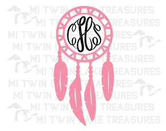 Dream Catcher SVG, Instant & Digital Download, For Silhouette and Cricut, Monogram Boho Hippie Decor, DIY, Personal and Commercial Use