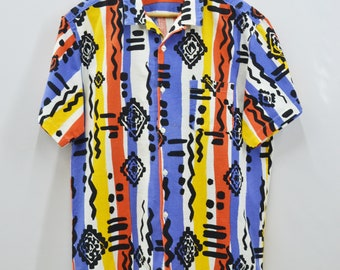 HANG TEN Shirt Vintage Hang Ten For Men Multicolor Hawaiian Button Down Shirt Size L