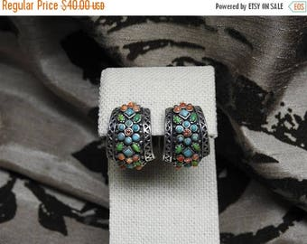 ON SALE stunning vintage barse sterling silver turquoise coral gaspite citrine flower mosaic hoop earrings