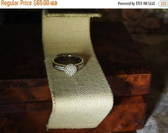 ON SALE stunning vintage sterling silver and  1 caret tw diamond ring size 9