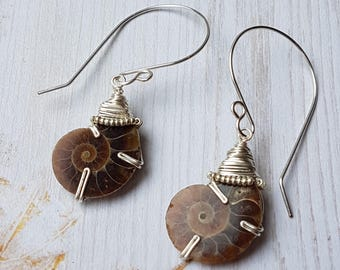 Ammonite Fossil Earrings,  Wire Wrapped Earrings, Genuine Gemstone, Genuine Fossil, Natural,Perfect Gift,