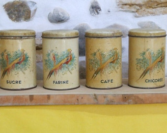 Vintage Set of 4 Tin Kitchen Canisters Shabby Chic.