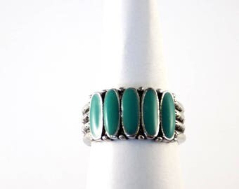 Silver Ring Turquoise Green Oval Enamel