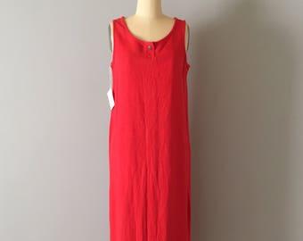 carnelian red linen maxi dress | artist maxi tent dress | slouch linen dress