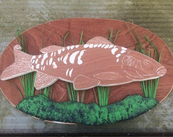 Handmade Mirror Carp Wood Carving