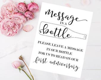 Message In A Bottle Sign - Wedding Message Bottle - Wedding Bottle Sign - Message In A Bottle Guest Book