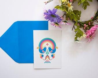 Set of Eight Scandi Rainbow Thank You Cards