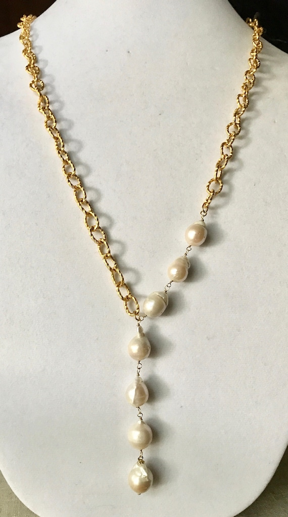 Pearl Necklace, Pearl Pendant Necklace, Baroque Drop Pearl Necklace,  Gold Plate, Long Lariat Look or Double wrap look