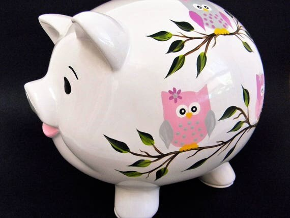 Piggy bank with owlspiggy bankpersonalized piggy bank Large piggy banks for adults