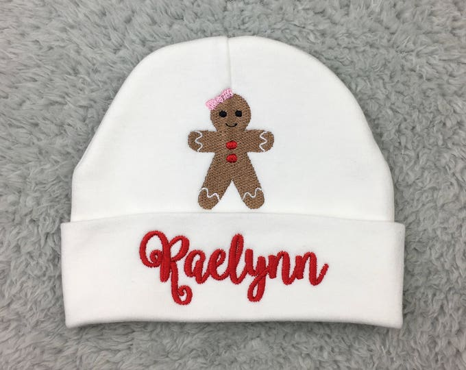Personalized baby hat with Gingerbread girl - preemie hat, Christmas baby girl, NICU clothes, baby shower gift, newborn girl gift, take home