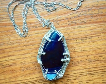 Basket blue Agate sterling silver pendant necklace