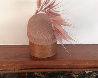 Dusty Pink Feather Fascinator